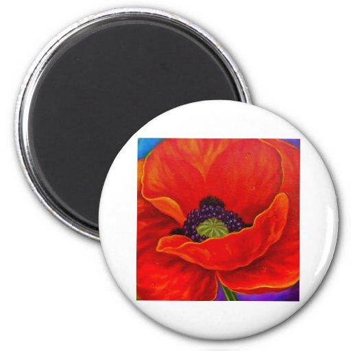 Red Poppy Flower Painting - Multi Fridge Magnets