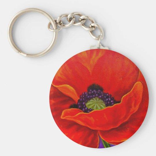 Red Poppy Flower Painting - Multi Keychain