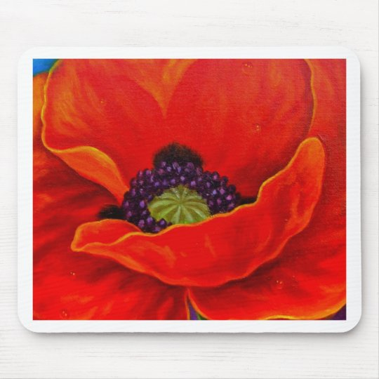 Red Poppy Flower Painting - Multi Mouse Pad