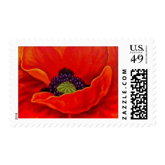 Red Poppy Flower Painting - Multi Postage Stamp