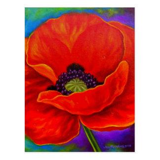 Red Poppy Flower Painting - Multi Postcard