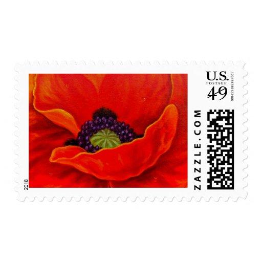 Red Poppy Flower Painting - Multi Stamp