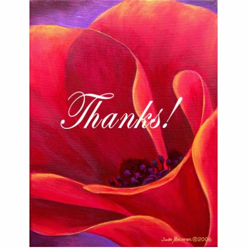 Red Poppy Flower Painting with Thank You Cut Out