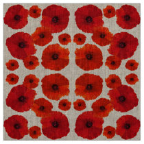 Red Poppy Flower Pattern Fabric