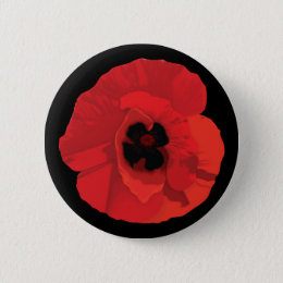 Red Poppy Flower Pinback Button