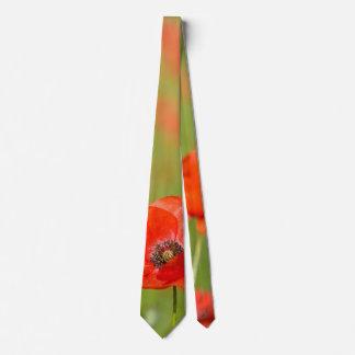 Red poppy flower tie