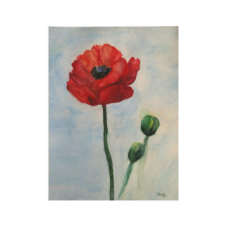 Red Poppy Flower Watercolor Art Poster Wood Poster