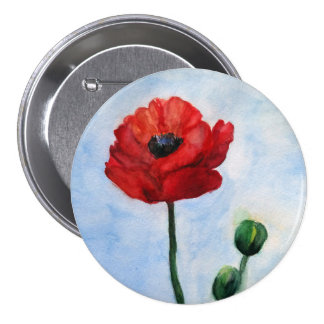 Red poppy flower watercolor Badge Pinback Button