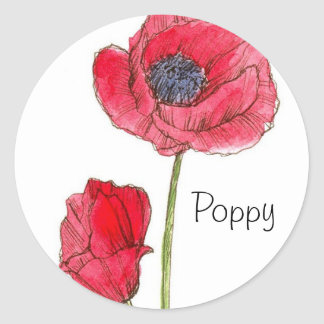 Red Poppy Flower Watercolor Botanical Art Classic Round Sticker