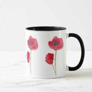 Red Poppy Flower Watercolor Botanical Art Mug