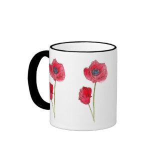 Red Poppy Flower Watercolor Botanical Art Ringer Coffee Mug