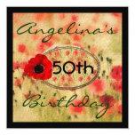 RED Poppy Flower WOMEN'S Birthday Invitation