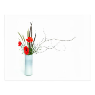 red poppy flowers arrangement ikebana postcard