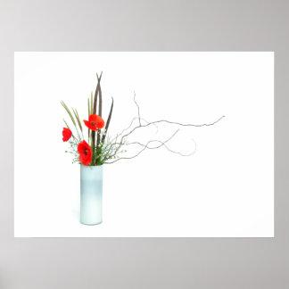 red poppy flowers arrangement ikebana poster