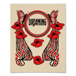 Red Poppy Flowers Butterfly Abstract Dreaming Poster