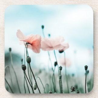 Red Poppy Flowers Beverage Coaster