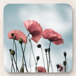 Red Poppy Flowers Beverage Coasters