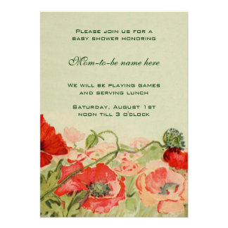 Red Poppy Flowers Floral Meadow Baby Shower Custom Announcements