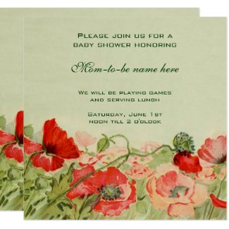 Red Poppy Flowers Floral Meadow Baby Shower Invitation