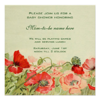 Red Poppy Flowers Floral Meadow Baby Shower Custom Invite