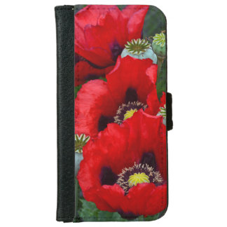 Red poppy flowers iphone wallet case