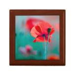 Red Poppy Flowers Keepsake Box