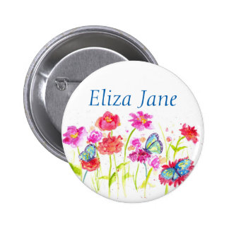 Red Poppy Flowers Name Tag Button Pin Butterflies
