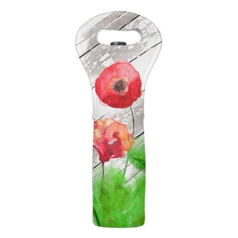 *~* Red Poppy Flowers Rustic Vintage Wood Wine Bag