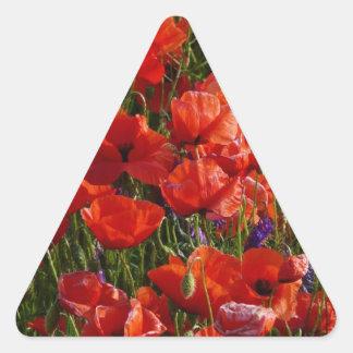 Red Poppy Flowers Triangle Sticker