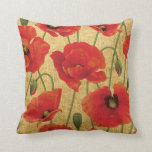 Red Poppy Flowers Throw Pillows