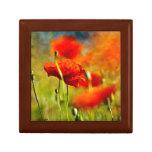Red Poppy Flowers Trinket Box