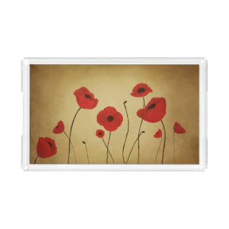 Red Poppy Flowers Vanity Tray Rectangle Serving Trays