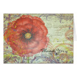 RED POPPY Folded Thank You Card Card