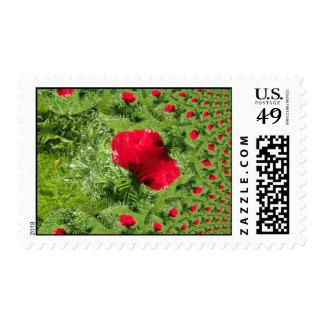 Red Poppy Fractal Postage