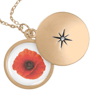 Red Poppy Gold Plated Necklace