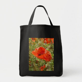 Red Poppy Grocery Tote Bag