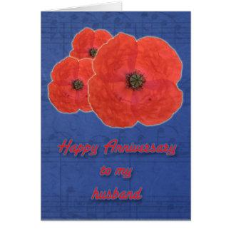 Red Poppy Husband Anniversary Card