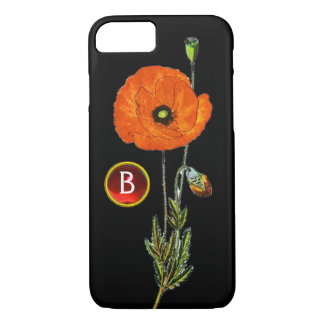 RED POPPY IN BLACK RUBY GEMSTONE MONOGRAM iPhone 8/7 CASE