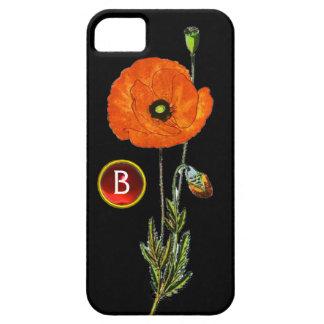 RED POPPY IN BLACK RUBY GEMSTONE MONOGRAM iPhone SE/5/5s CASE