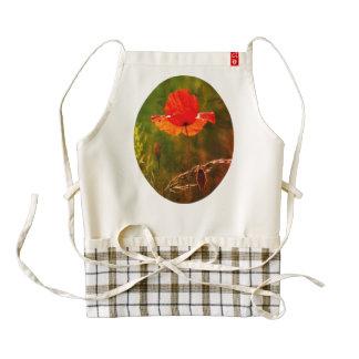 Red poppy in summer 02 zazzle HEART apron
