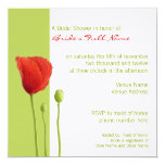 "Red Poppy lime Bridal Shower Invitation 5.25"" Square Invitation Card"