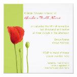 "Red Poppy lime Bridal Shower Invitation 5.25"" Square Invitation Card"