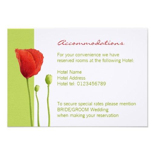 Red Poppy lime Enclosure Card Custom Invitation