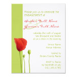 """Red Poppy lime Engagement Invitation 4.25"""" X 5.5"""" Invitation Card"""