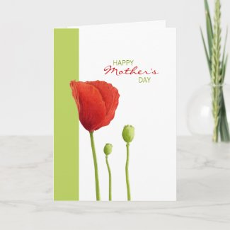 Red Poppy lime Mother's Day Card zazzle_card