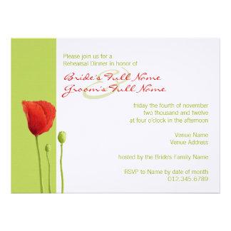Red Poppy lime Rehearsal Dinner Invitation
