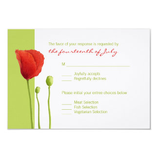 Red Poppy lime RSVP Card
