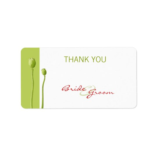 Red Poppy lime Thank You Gift Sticker