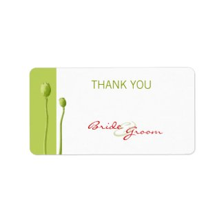 Red Poppy lime Thank You Gift Sticker label