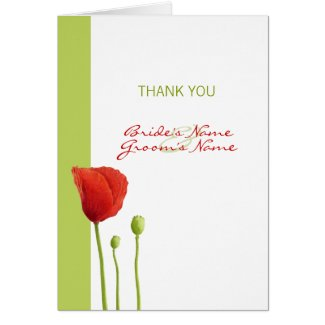 Red Poppy lime Thank You Note Card card